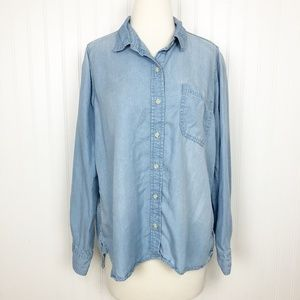 Mossimo Chambray Button Up Shirt Lyocell Blue XL